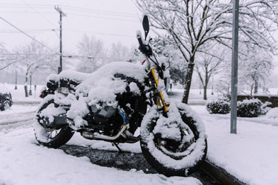 motorcycle in winter storm