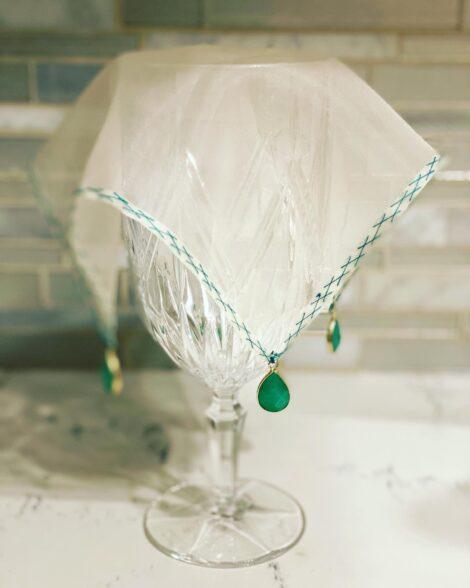 Glass veil silk organza hand stitched contrast sticker American made wine glass marker wine charm