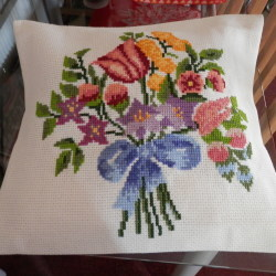 Crossed Stitched Flowery Cushion