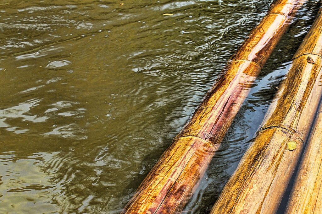 bamboo, raft, water