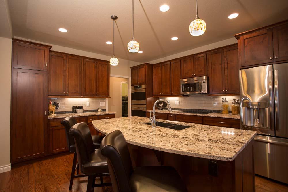 kitchen with dark wood furniture