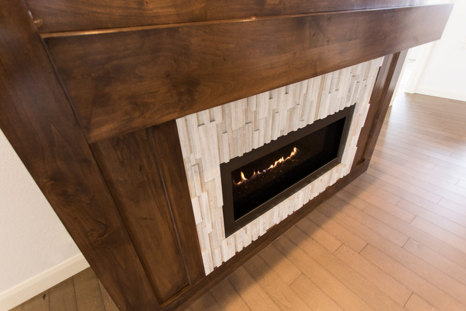 fireplace with wooden design
