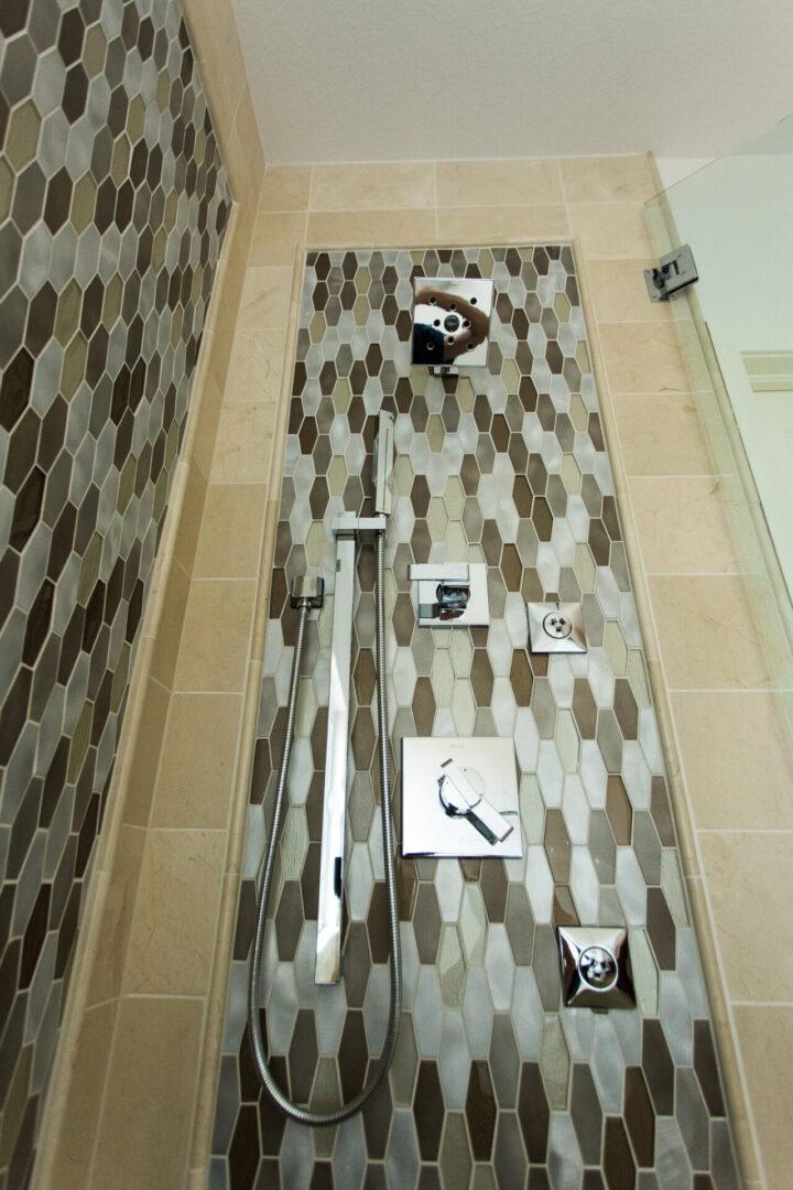 showerhead and hexagonal tiles