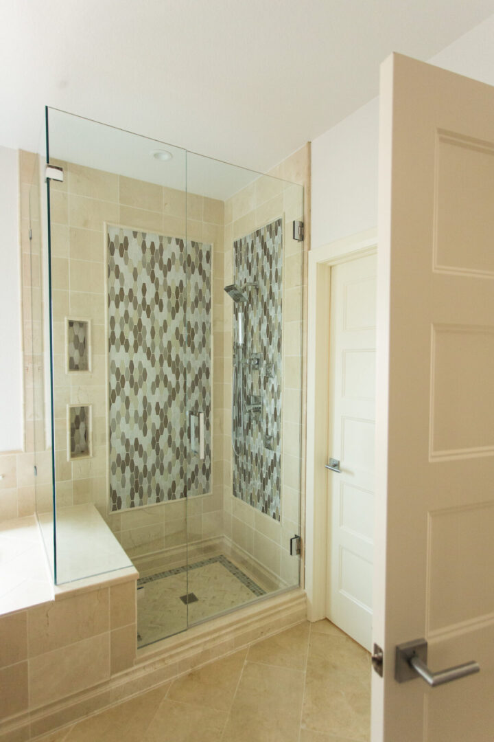 shower enclosure with pale yellow design