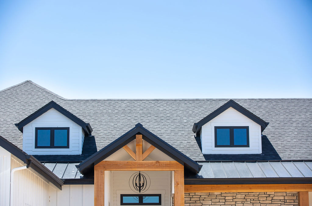roof of a house with blue sky background