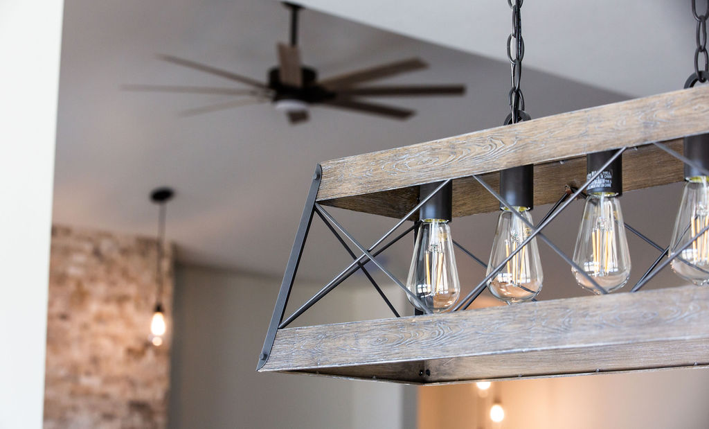 light bulbs in a wooden enclosure
