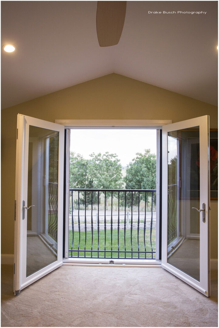 glass doors opening to a balcony