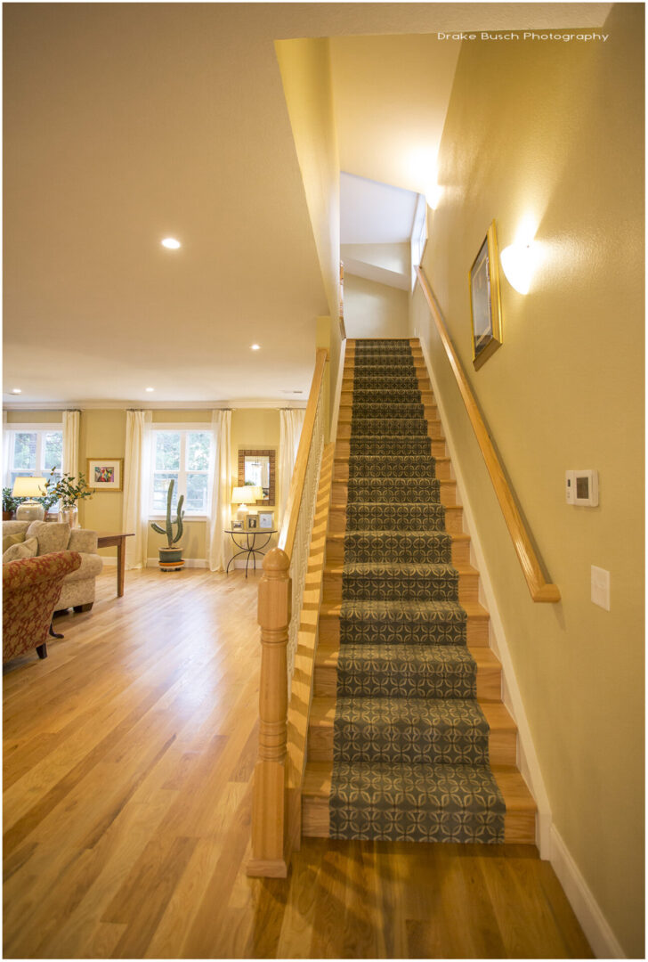 staircase with yellow theme