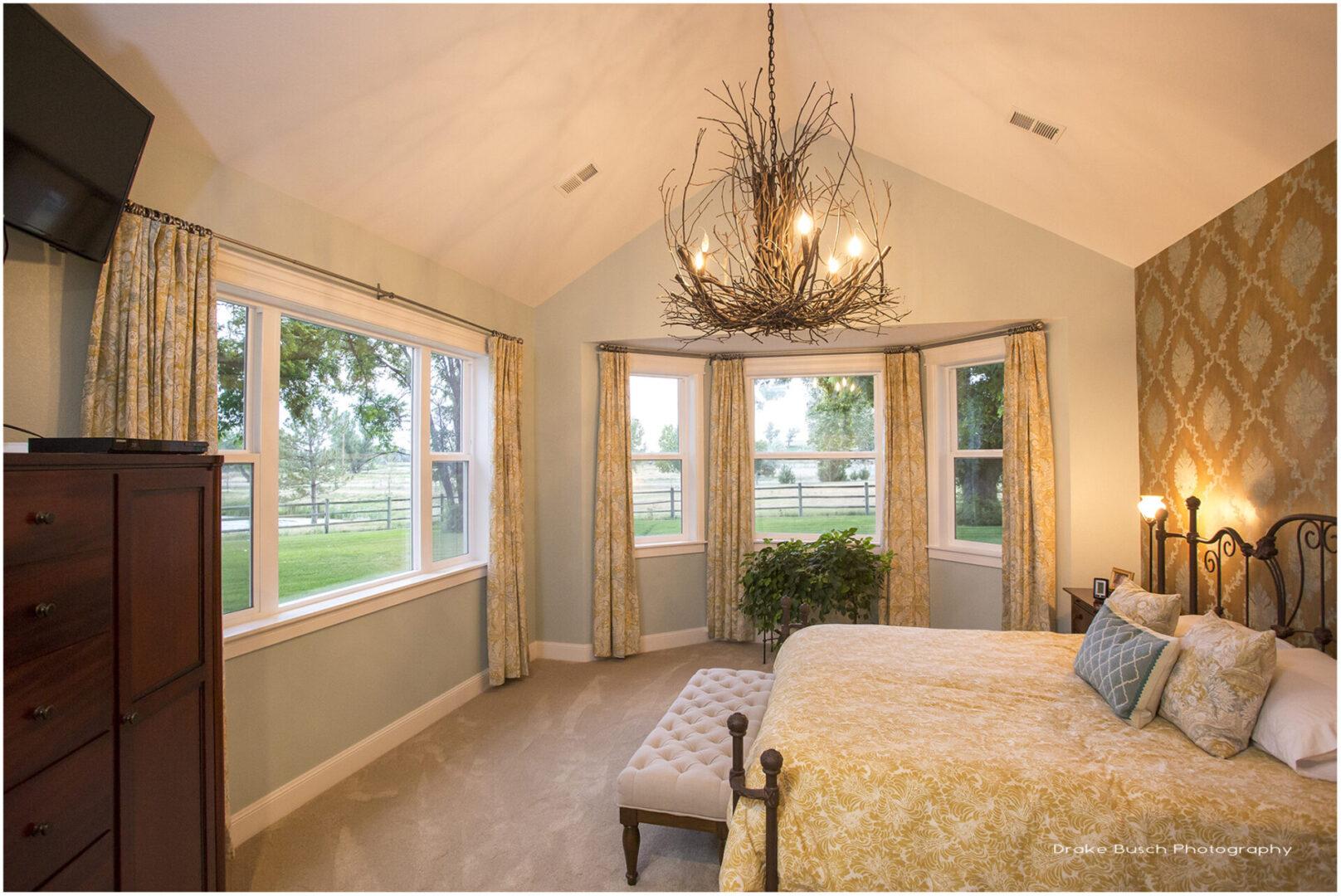 bedroom with twig chandelier