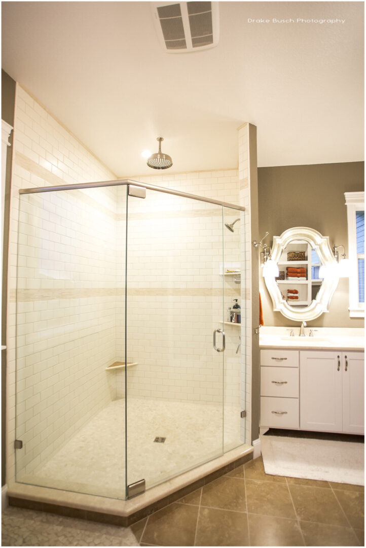 shower enclosure with overhead lights