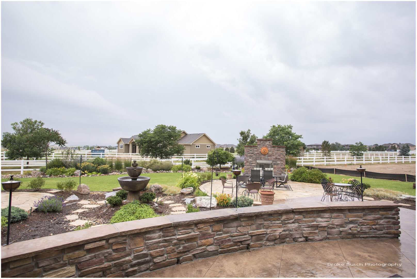 patio of a house with view of landscaped yard