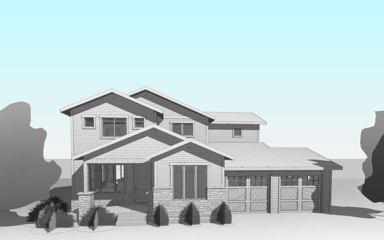 colored render of a large modern house with trees