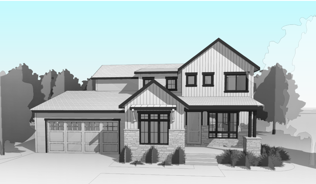 grayscale render of a house