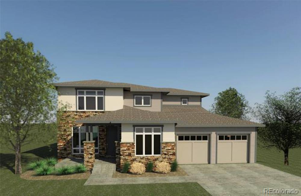 colored render of a two-story house with trees