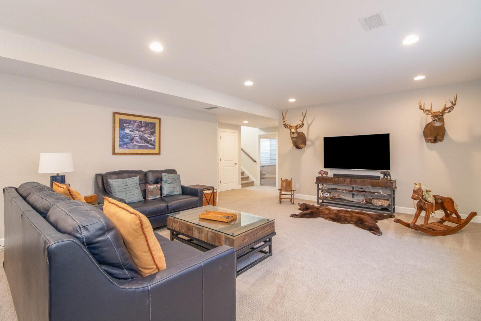 living room with stuffed animal decoration