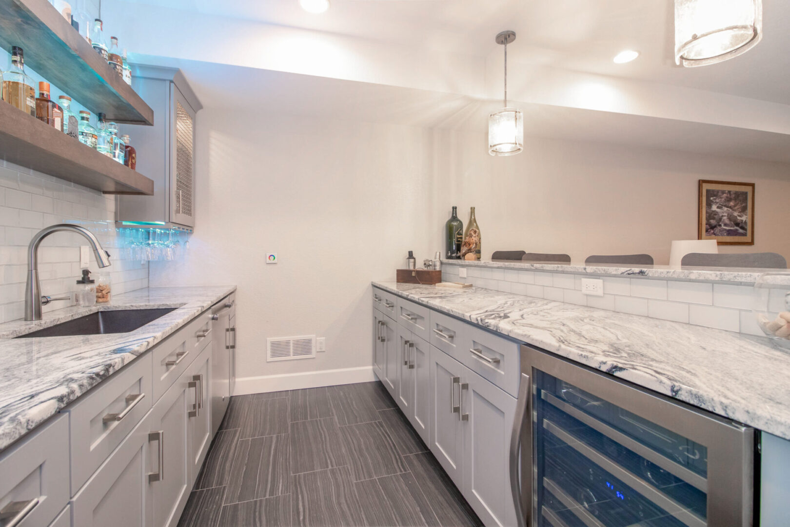 kitchen with marble countertops