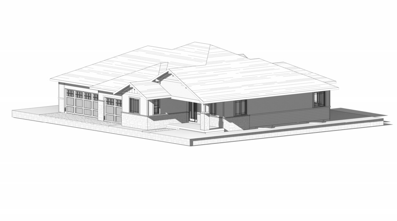 perspective drawing of a modern house