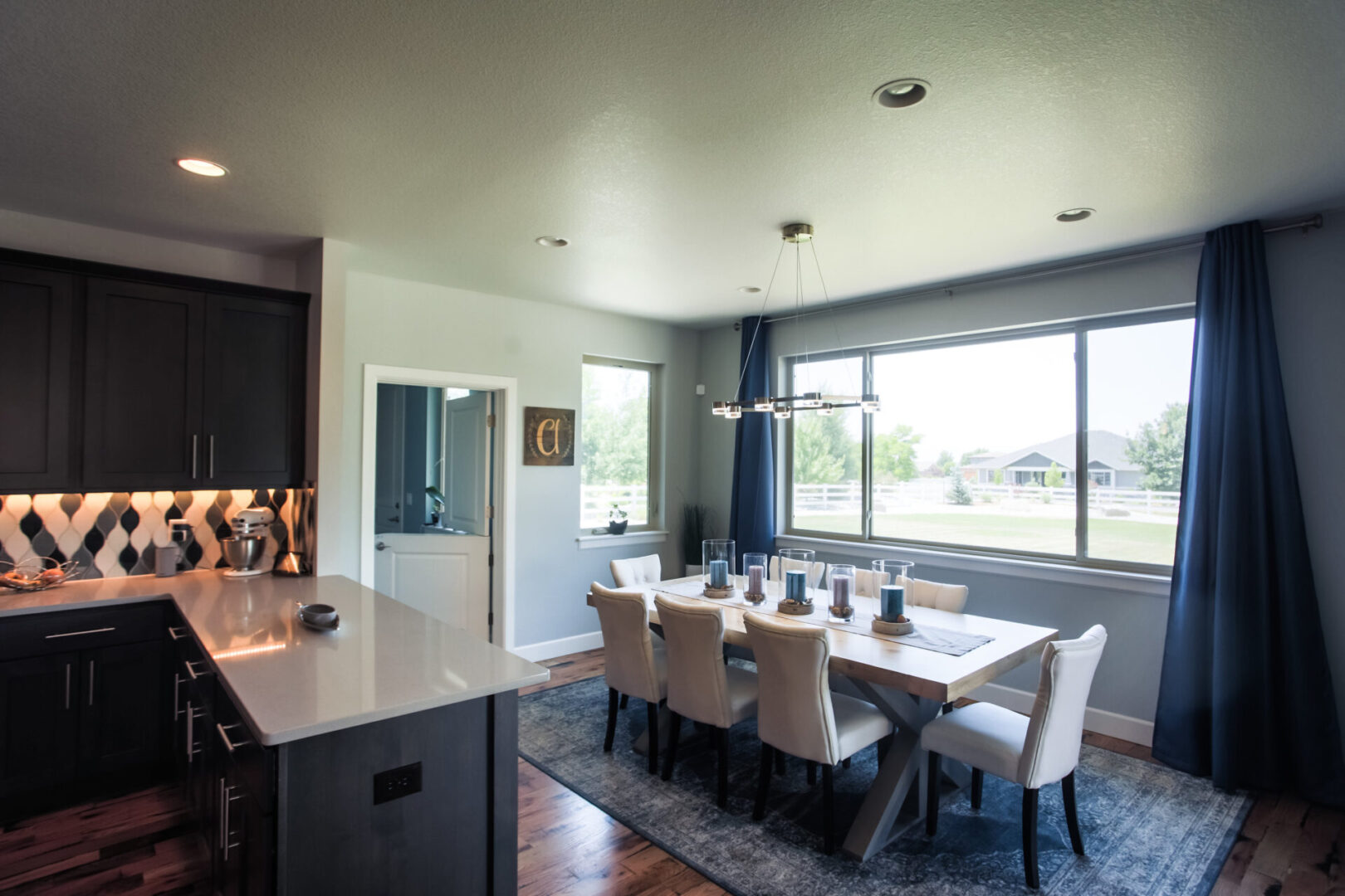 kitchen and dining area with outdoor view