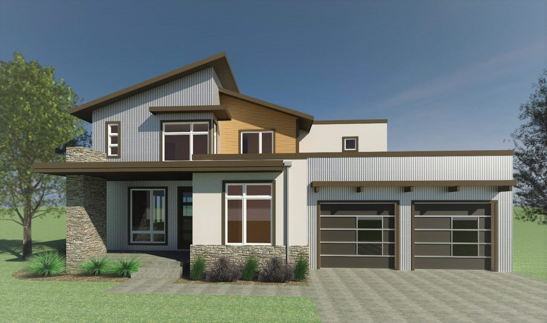colored render of a two-story modern house with trees