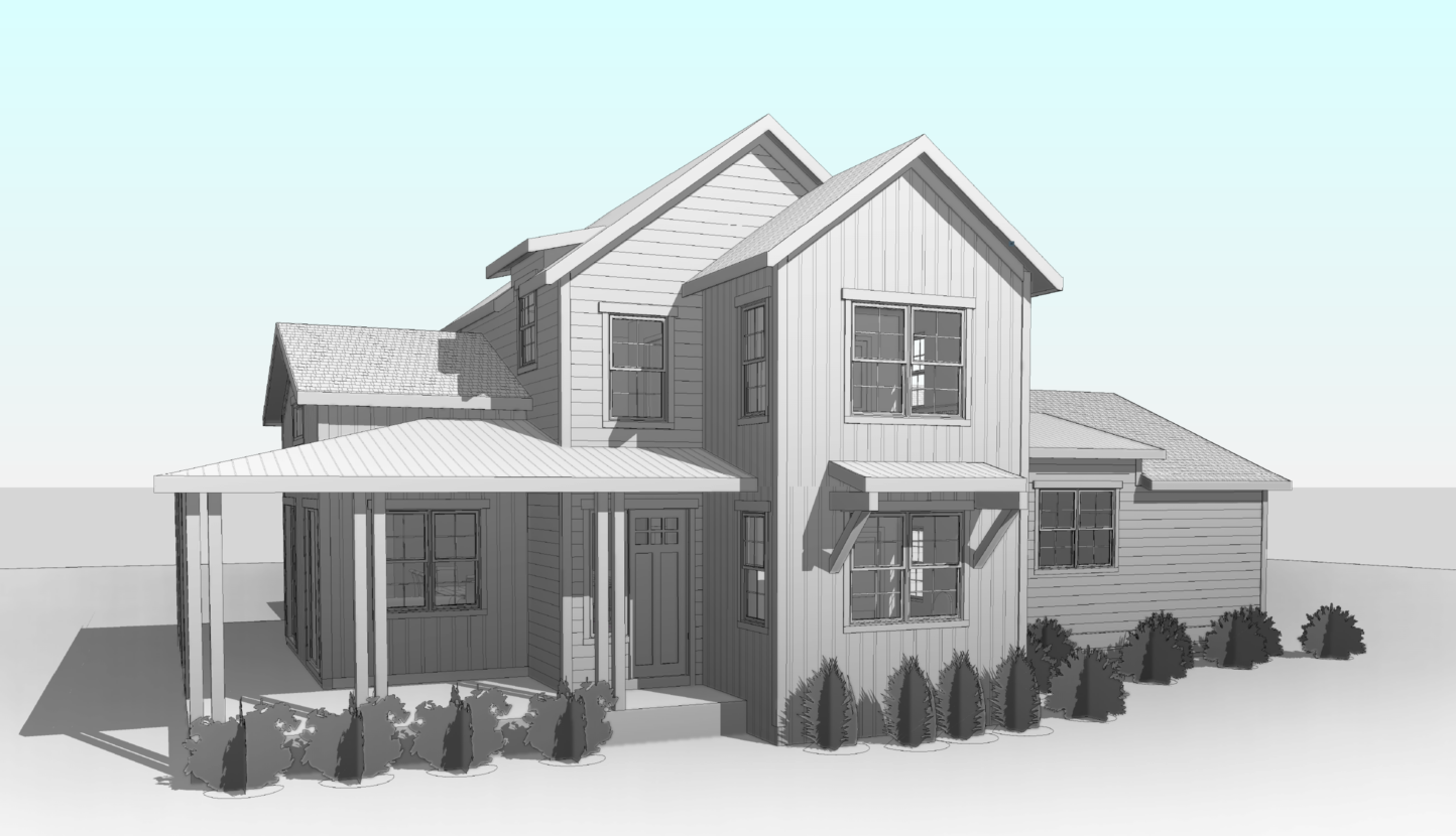 render of a house with bushes