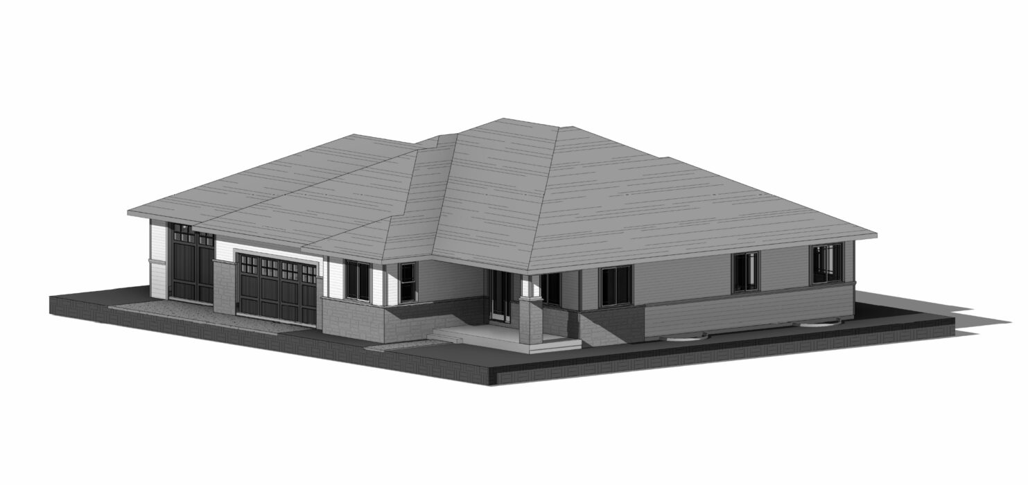 grayscale perspective drawing of a house