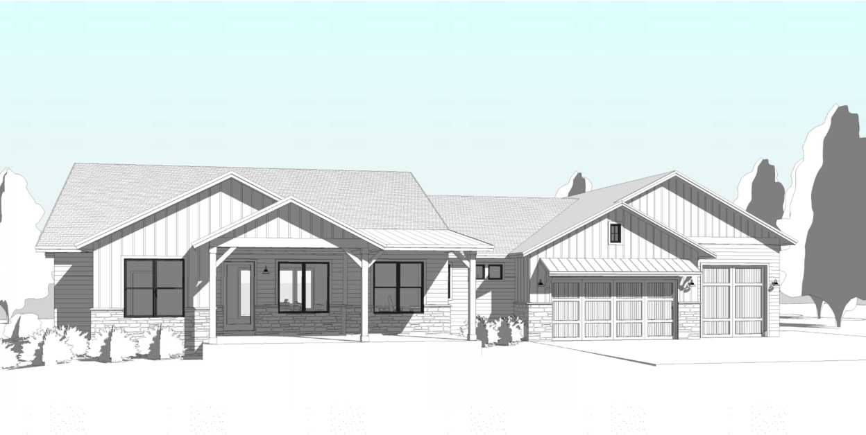 blueprint image of a house in grayscale