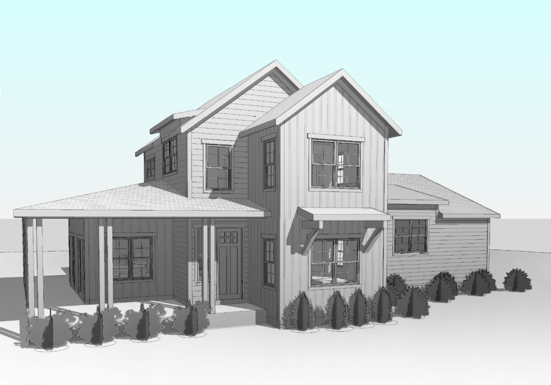 blueprint rendering of a house in grayscale