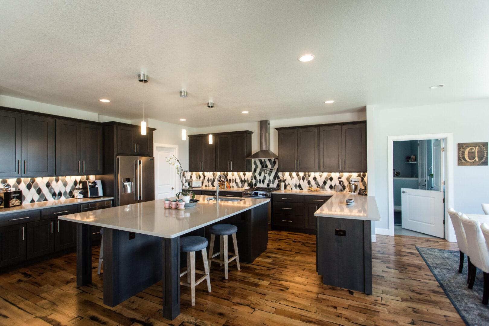 modern kitchen with dark-wooden theme