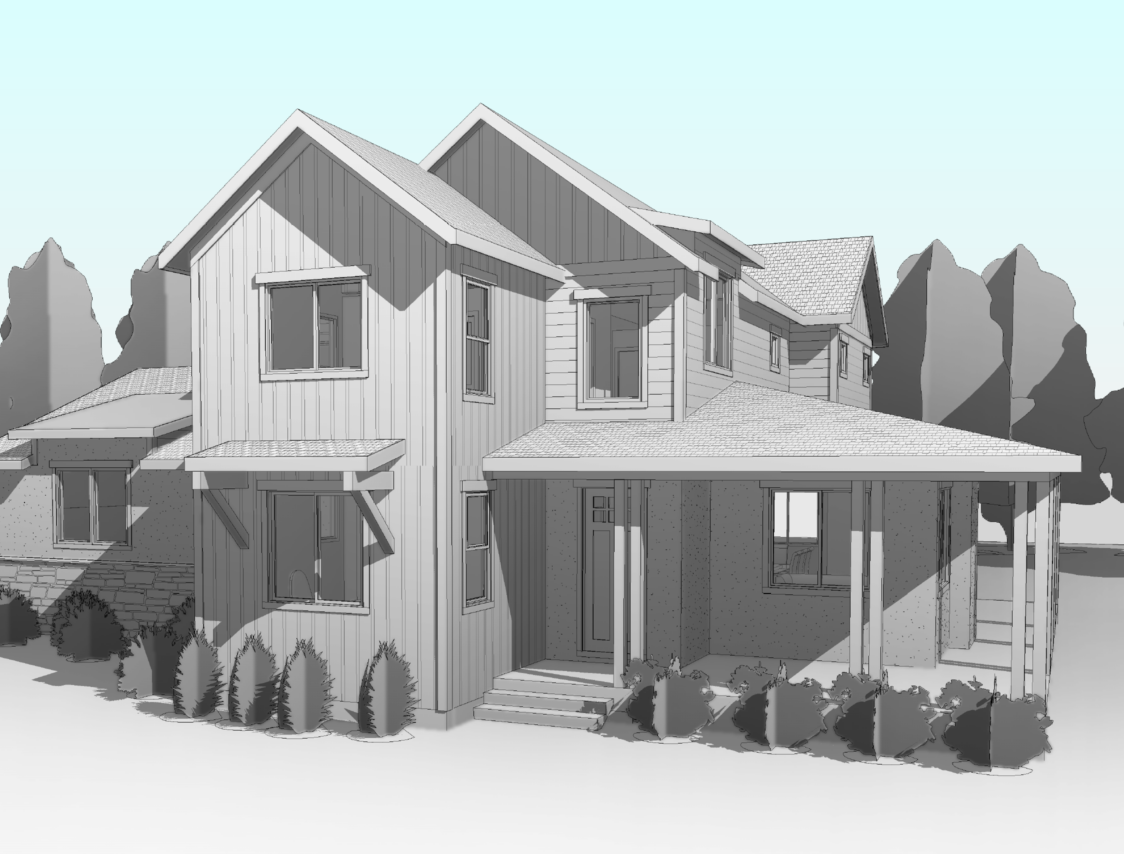 rendering a house with trees
