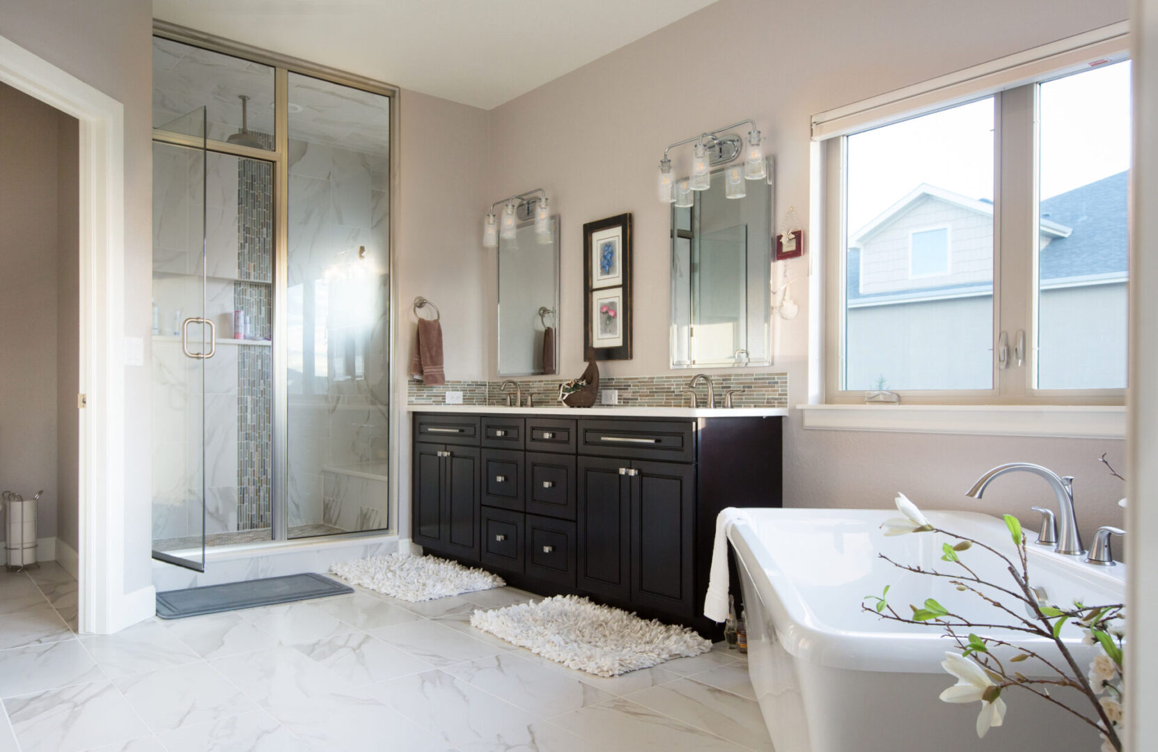 master bathroom with carpeted floor and cream theme