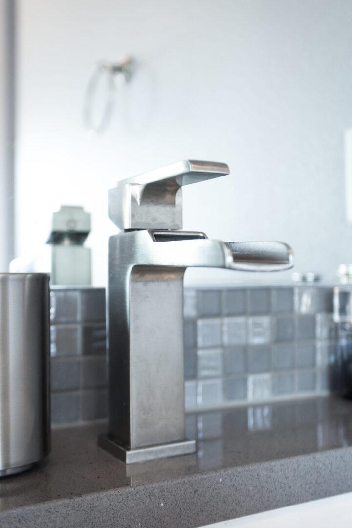 close up of a bathroom faucet