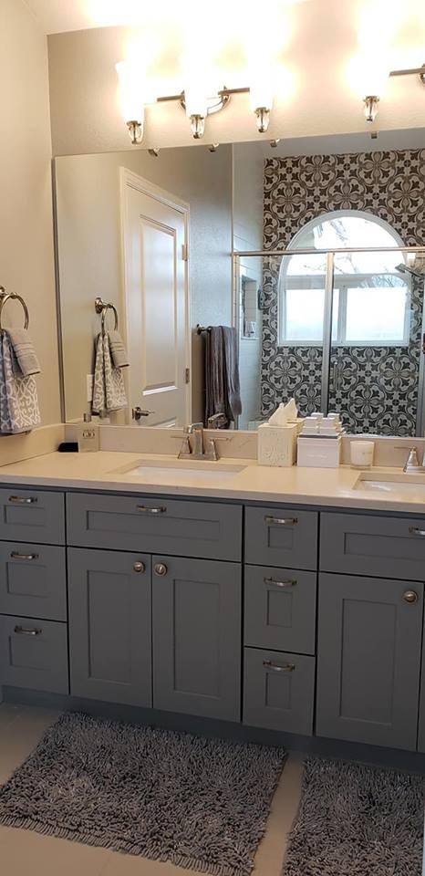 bathroom sink with modern lighting fixtures
