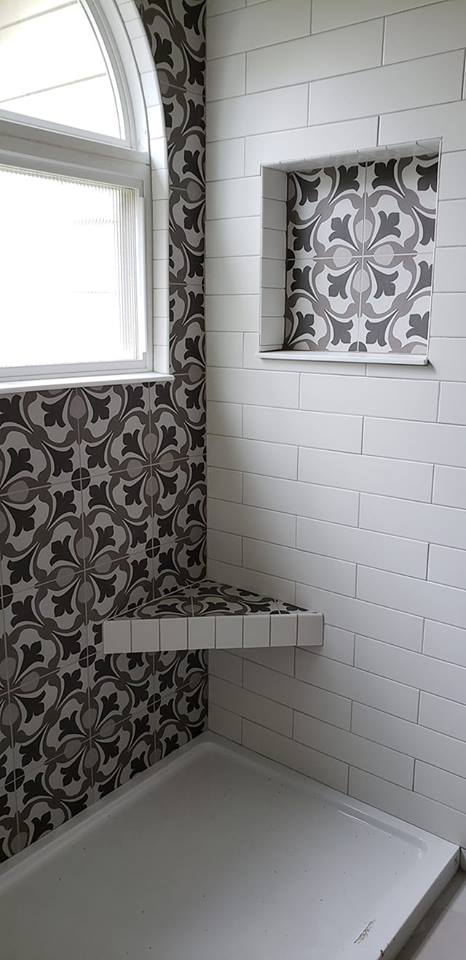 shower with patterned tiles