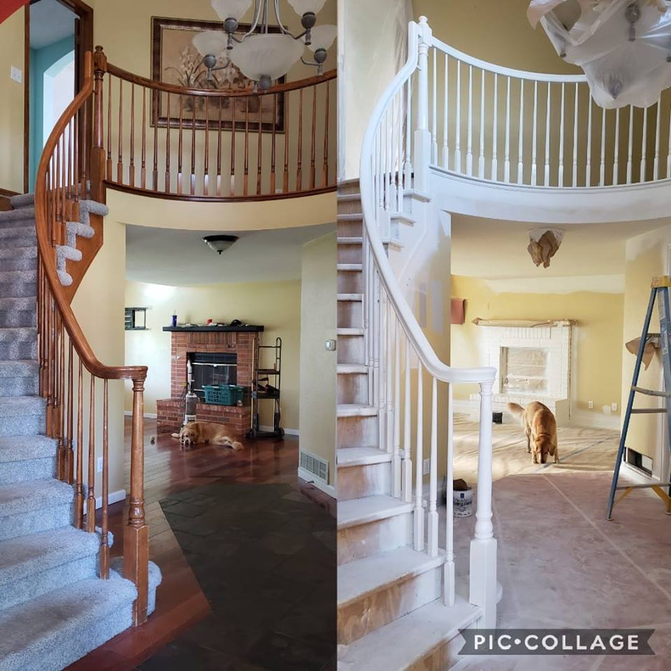 before and after images of a remodeled staircase
