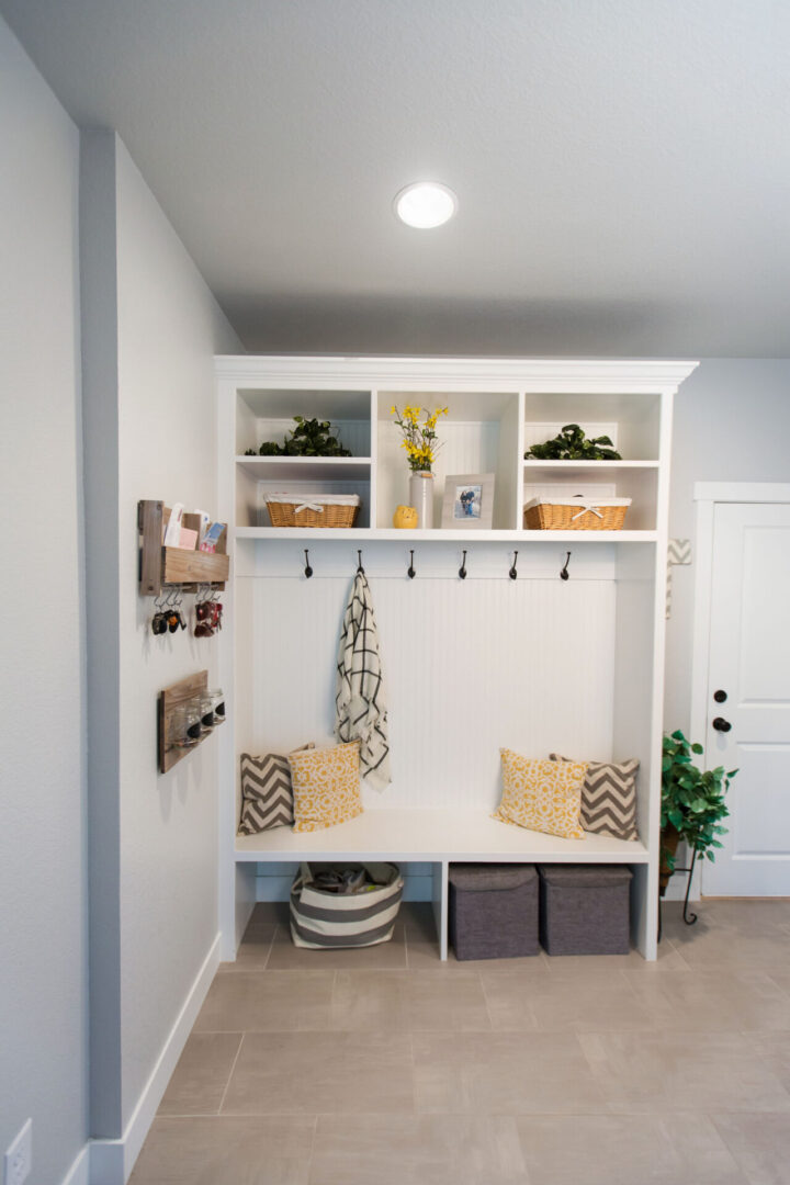 open cabinets with assorted contents