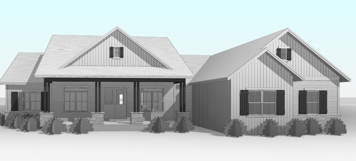 blueprint render of a house in grayscale