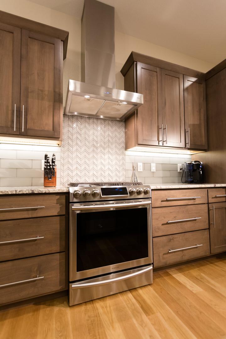 modern kitchen with brown theme