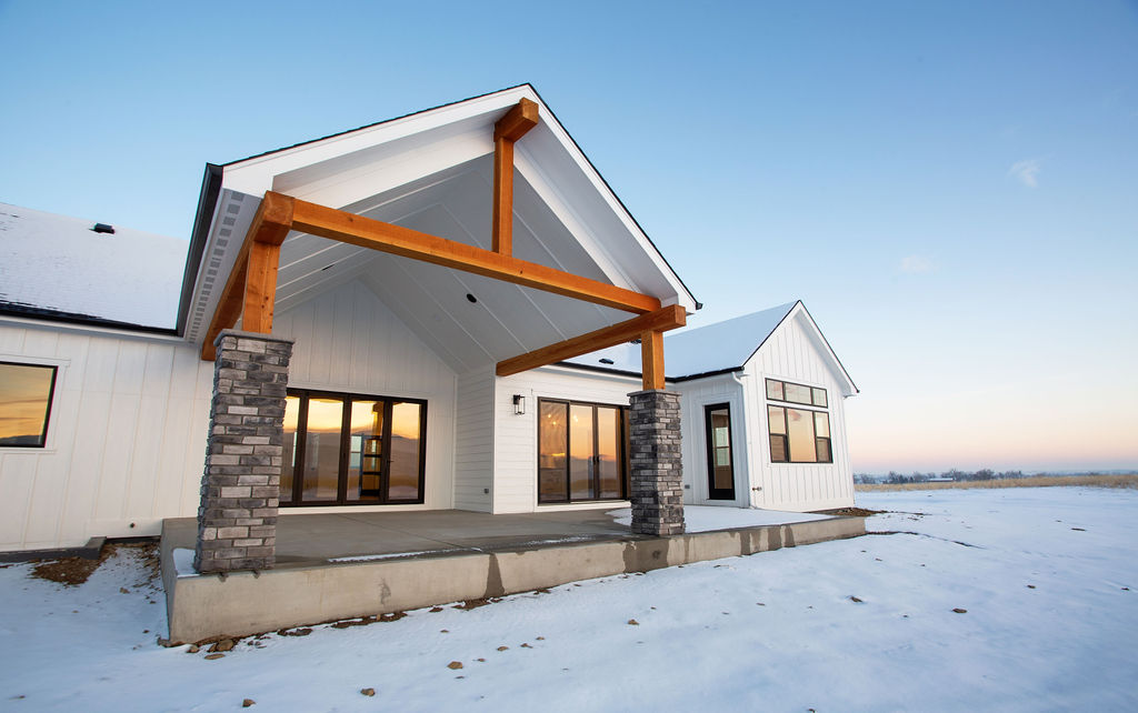 modern house with snow