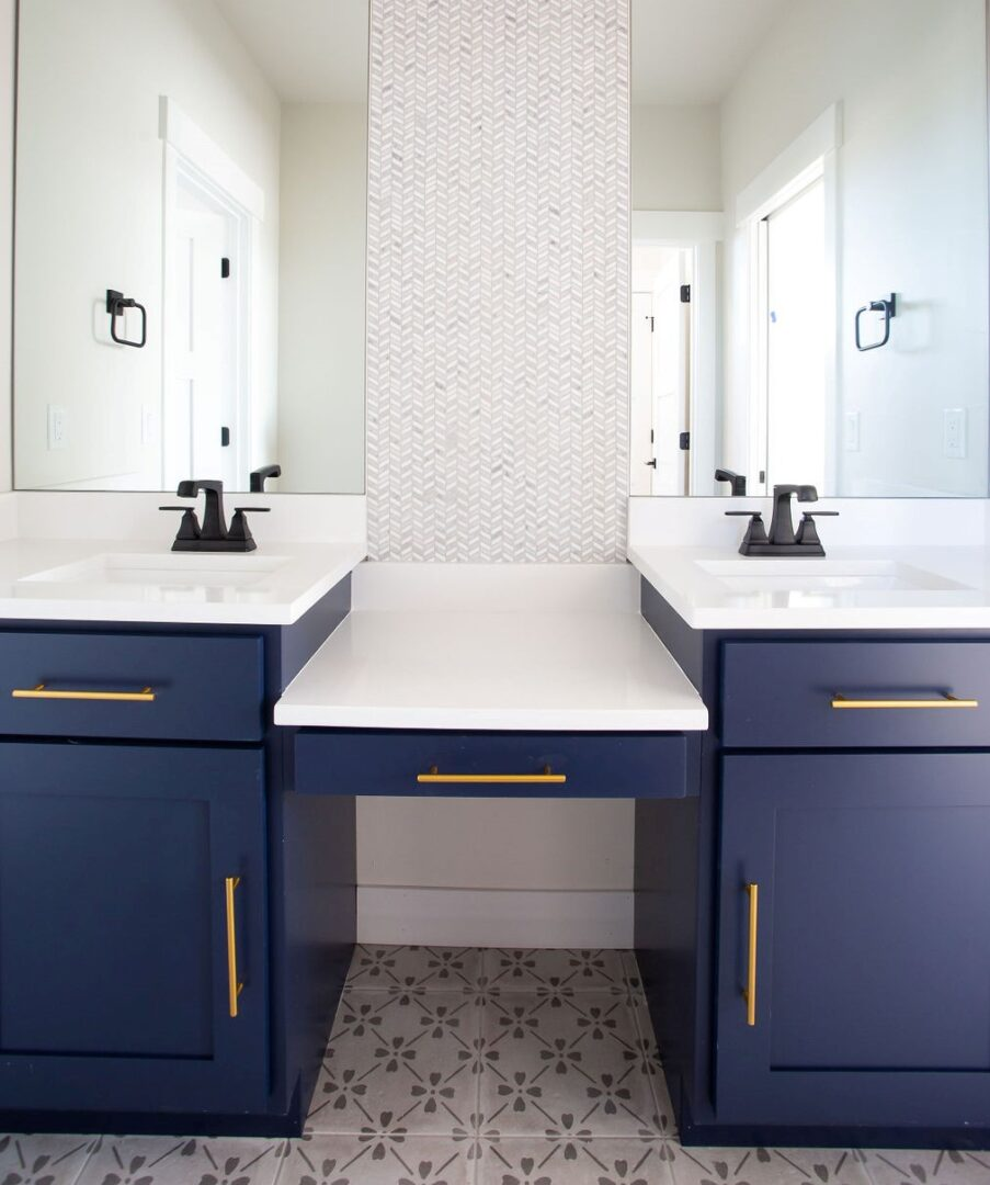 bathroom sink with blue and yellow accents