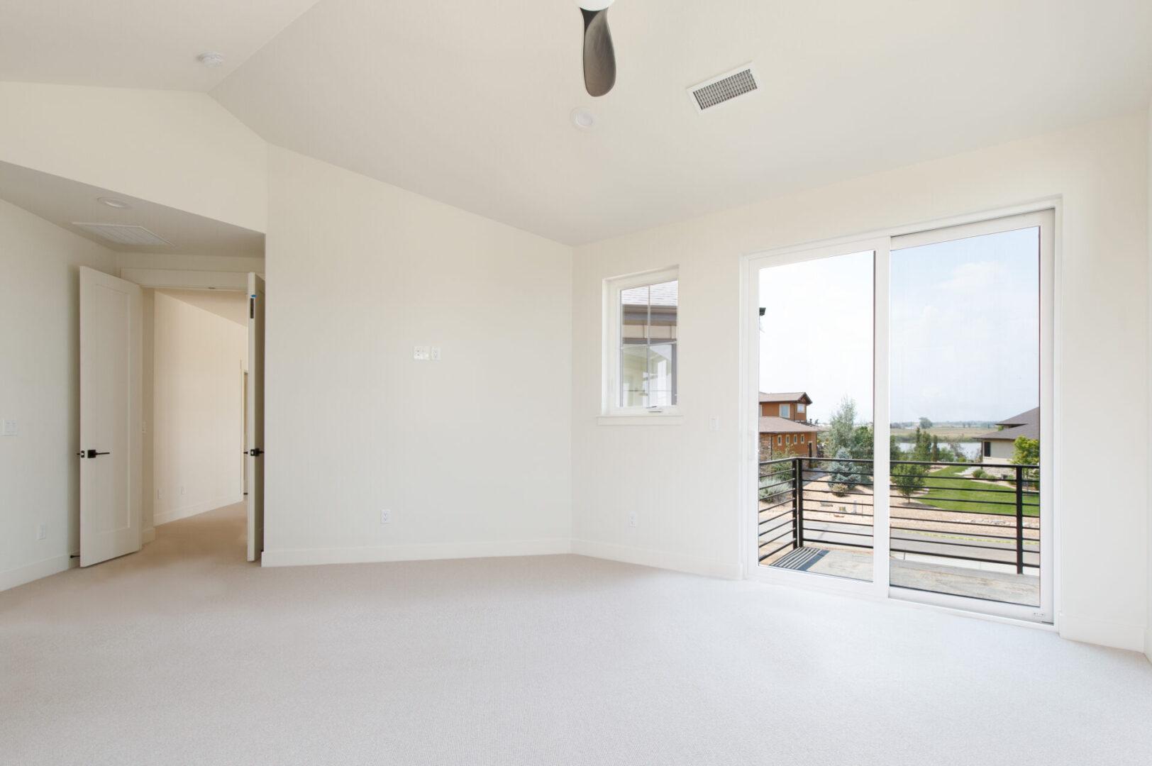 empty room with open balcony