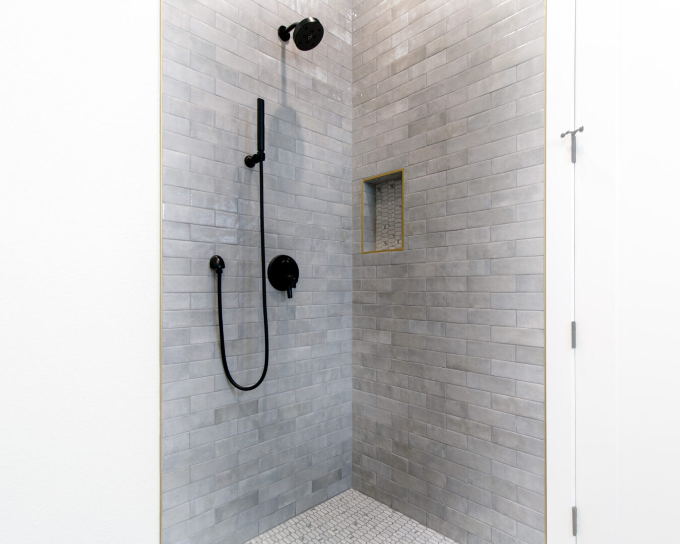 shower with gray tiles
