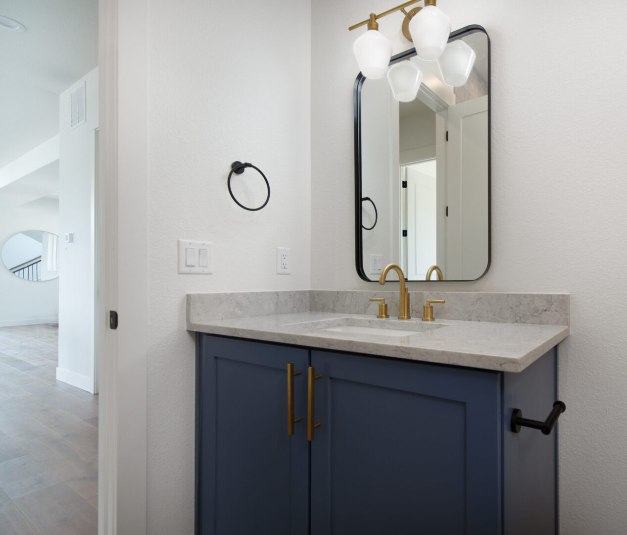 kitchen sink with blue and gold accents