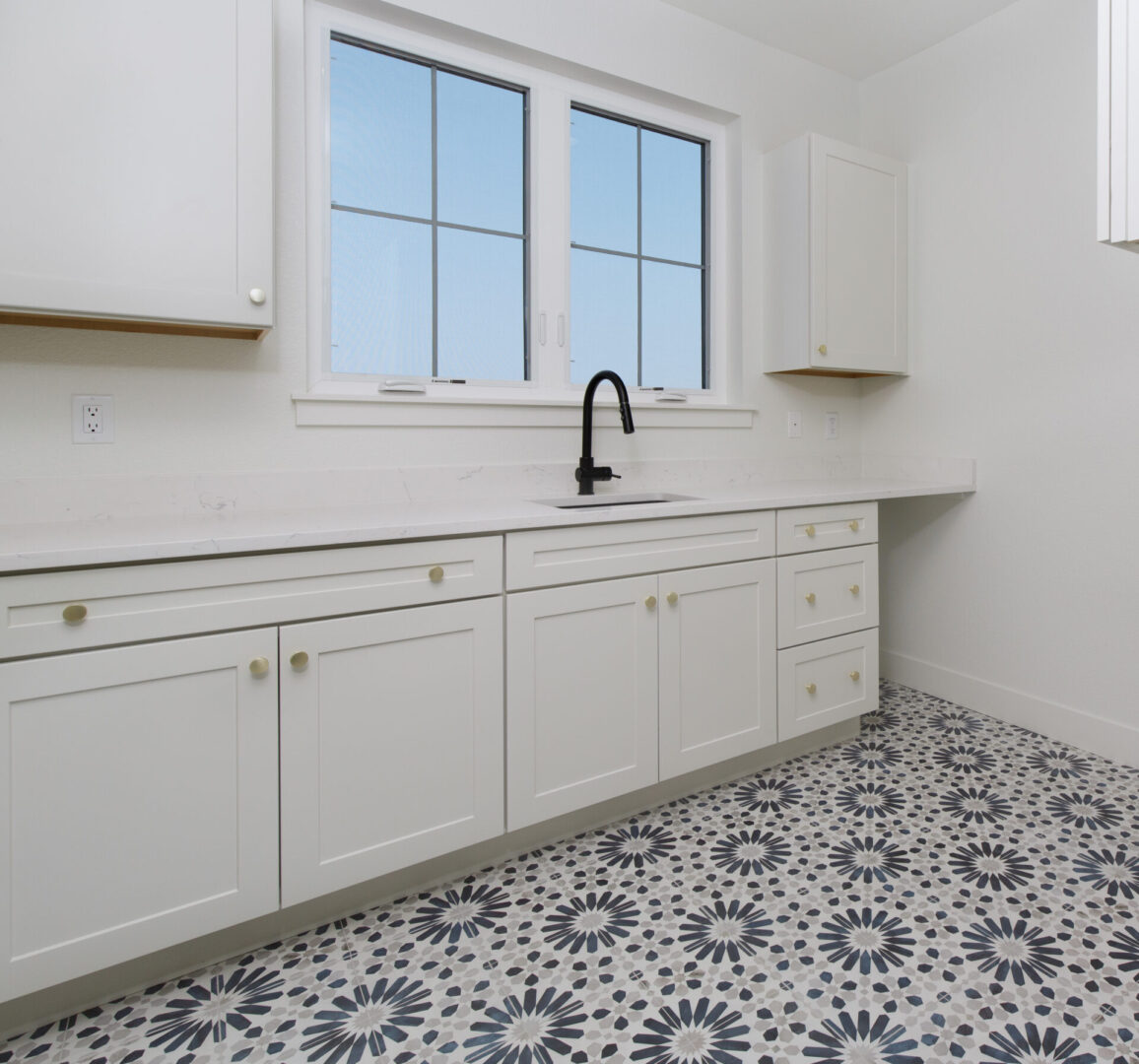 white bathroom sink with patterned tiles