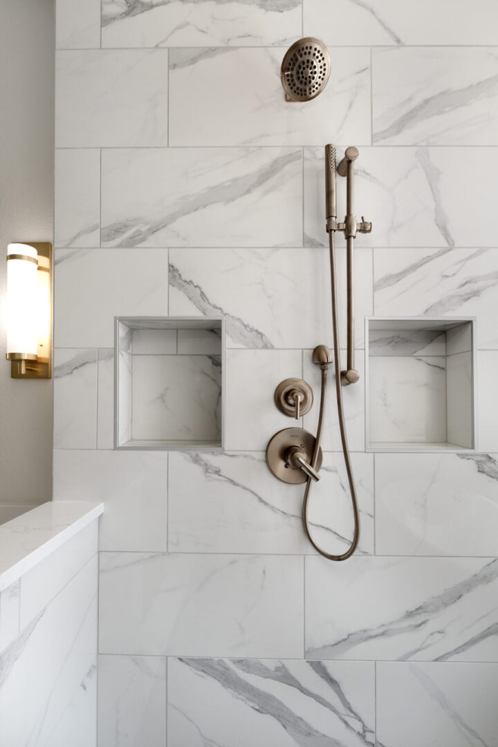 shower head and spaces for soap