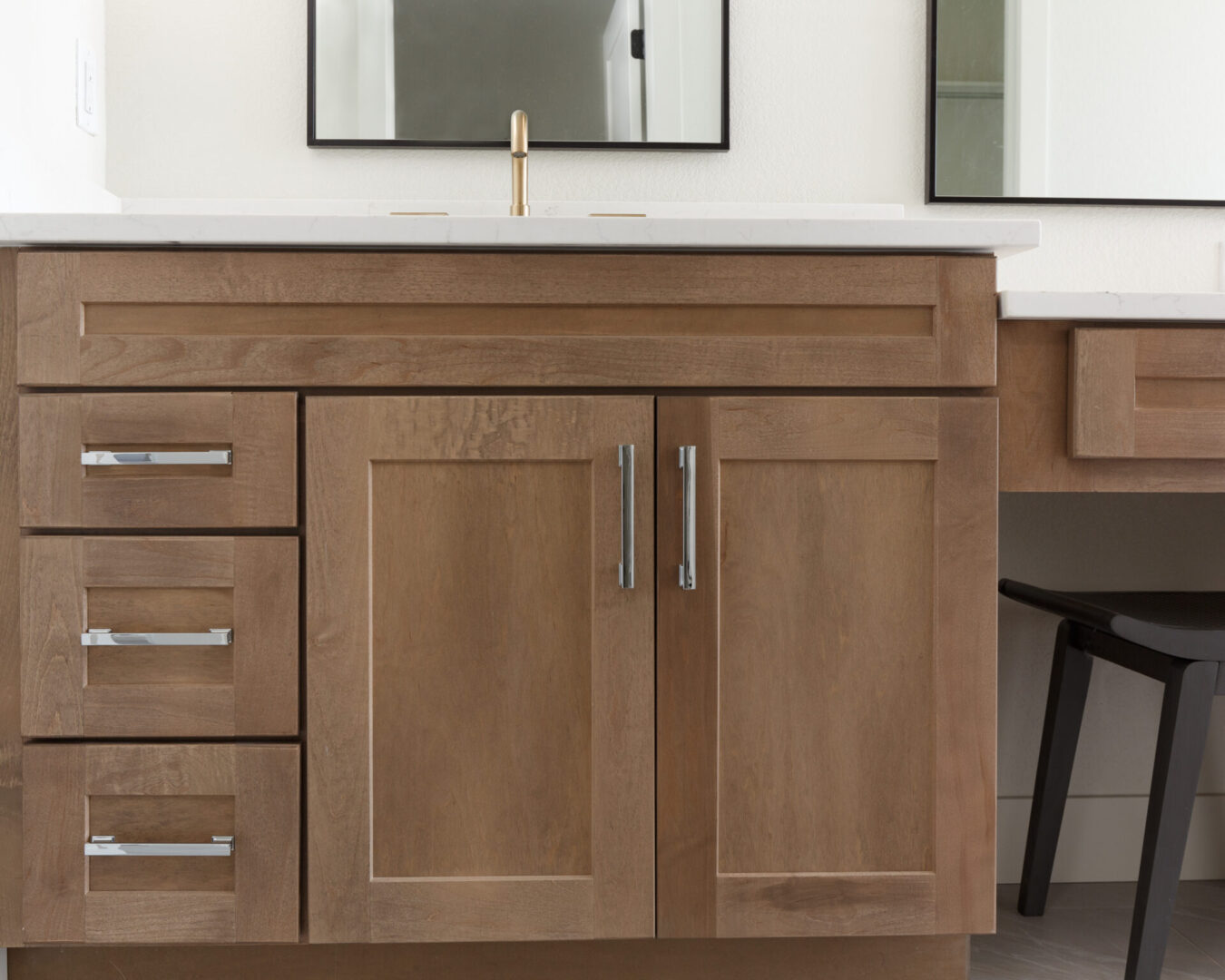 bathroom cabinet with wooden finish