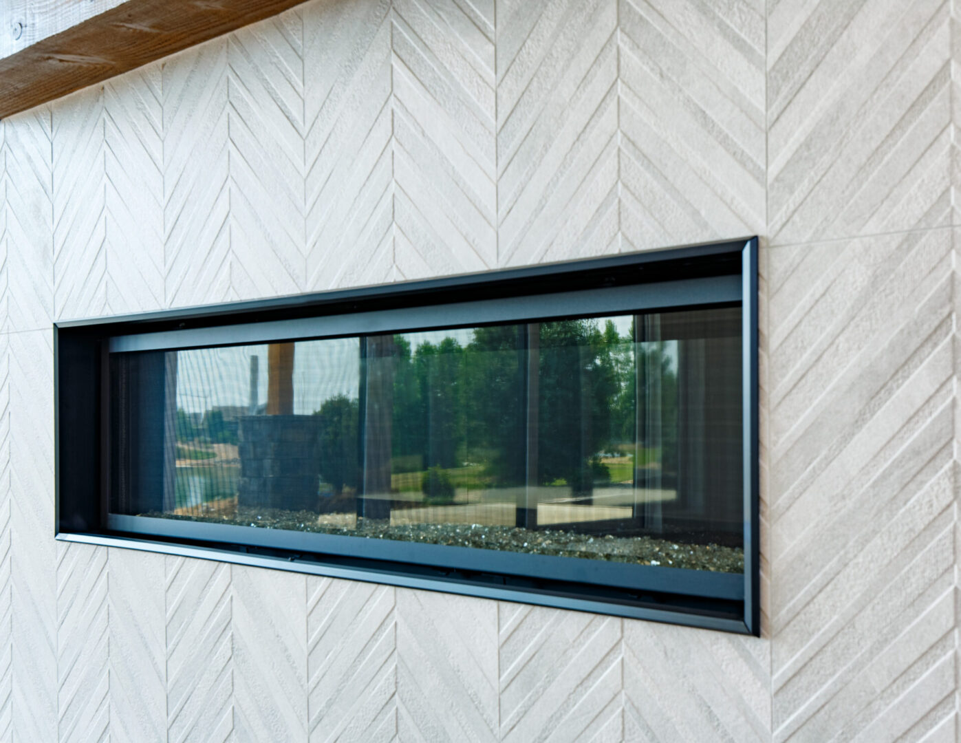 modern fireplace with glass enclosure