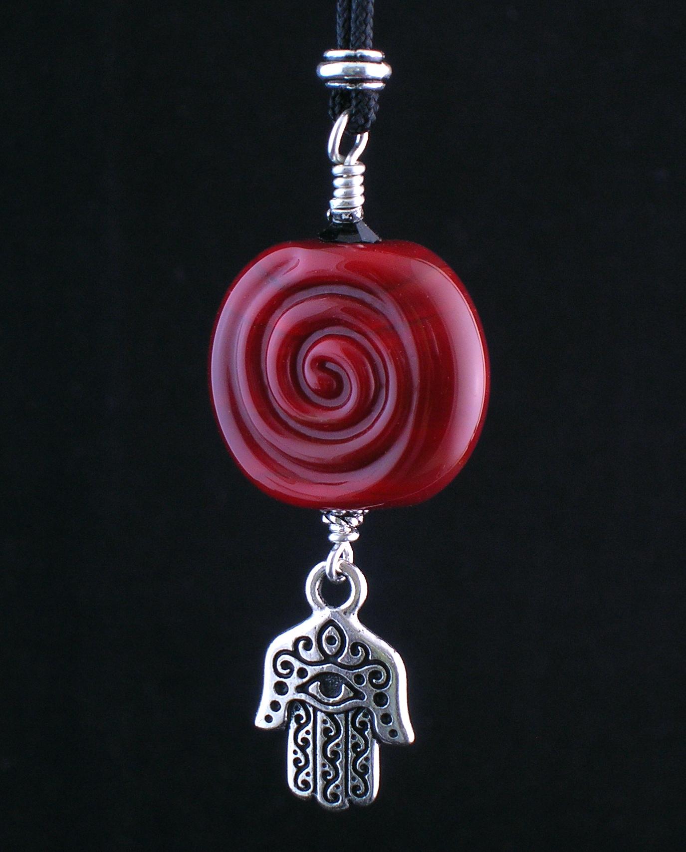 Red Spiral Hamsa Hand Necklace