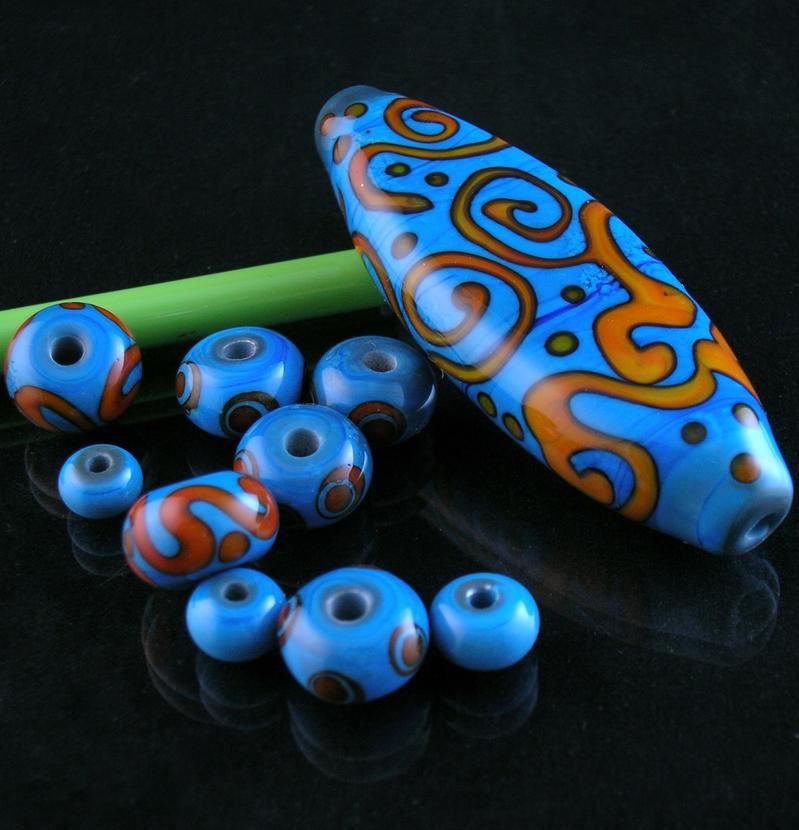 Turquoise Orange Bead Set