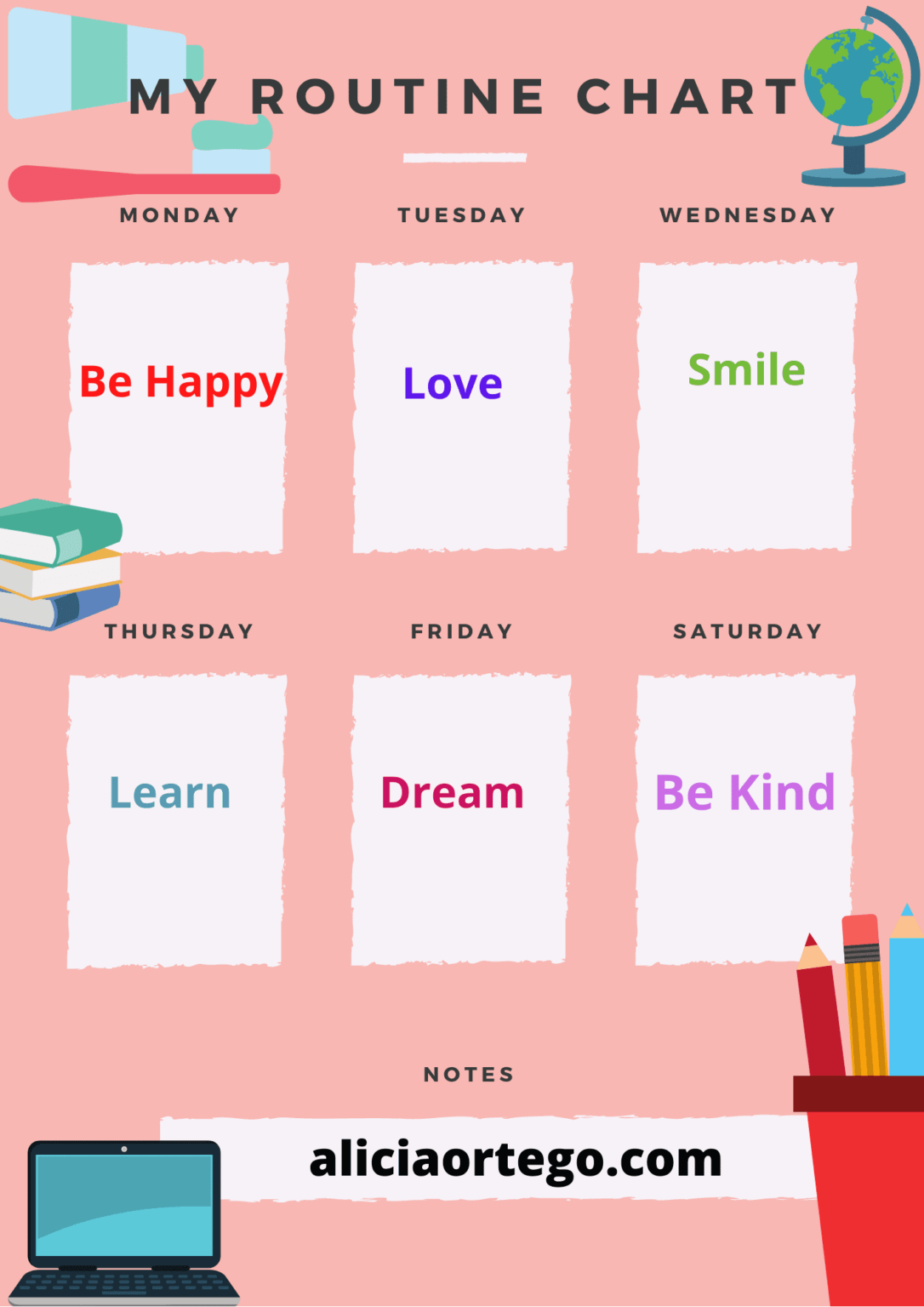 Peach Creative Chore Chart Planner (1)