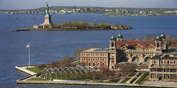 Ellis and Liberty Island from the Air